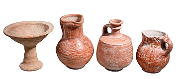 Terracotta vesseles Iron Age 8-10th century BCE from left to right Chalice, Jug, Decanter and Jug.
