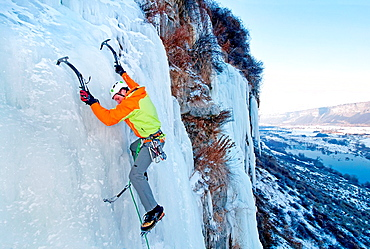 Ice climbing a route called Chrome Moly which is rated WI-4 and located at the Mother Lode Area in the Snake River Canyon near the city of Twin Falls in southern Idaho