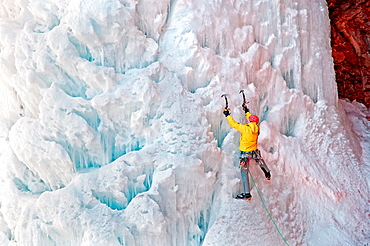 Ice climbing Cornet Falls which is rated WI-4 and located in the San Jaun Mountains near the city of Telluride in southwestern Colorado.