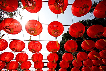 A red paper lantern with yellow tassels true the sunlight