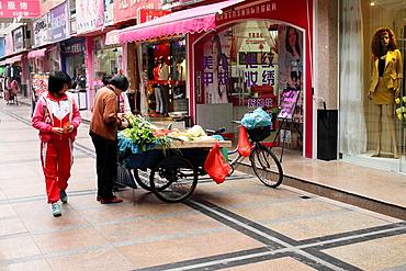 Street scene with illuminated food shop, China
