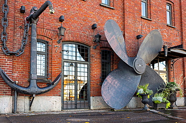 Ship four bladed propeller and anchor, Helsinki, Finland.