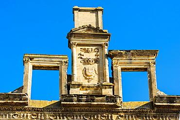 Europe, France, Vaucluse, Luberon, La Tour-d'Aigues, the pediment of the castle.
