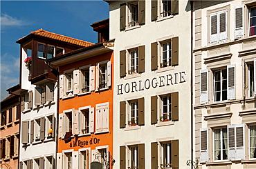 facades in Vevey, canton Vaud, Switzerland