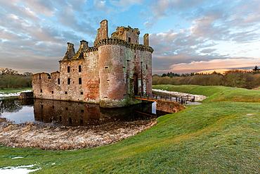 A view toward Caerlaverock Castle, Dumfries and Galloway, Scotland, UK, Europe.
