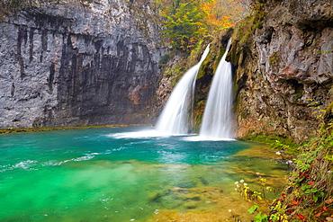 Croatia, waterfall in Plitvice Lakes National Park, central Croatia.
