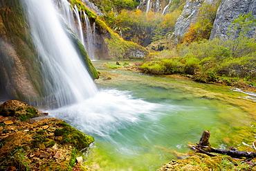 Croatia, waterfall in Plitvice Lakes National Park, central Croatia, UNESCO.