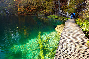Croatia, Plitvice Lakes National Park, wooden path for tourists between lakes, central Croatia.