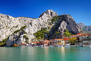 Croatia, Makarska Riviera, landscape with Omis Village and mountains, Dalmatia, Croatia.