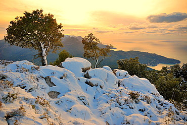 Snowy Landscape of the Serra de Tramuntana, Spain, Balearic Islands, Mallorca