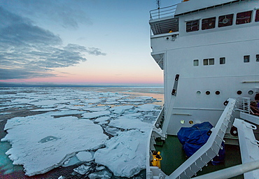 Sailing through pack ice on the Akademik Sergey Vavilov -Russian ice breaker used as a cruise ship, Greenland.