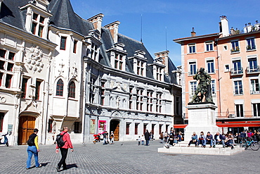Place Saint Andre, the former site of the court of the city of Grenoble in the historical district, capital of the Alps, Isere, Rhone-Alpes, France.