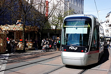 Tram, public transport, city, Grenoble, capital of the Alps, Isere, Rhone-Alpes, France.