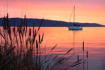 A sailboat is reflected in the dawn glow on California's Clear Lake.
