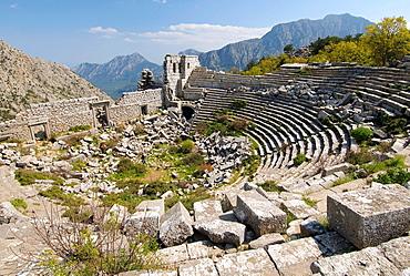Theater, Antique city of Termesos (Termessus) Taurus Mountain, Turkey, Western Asia.