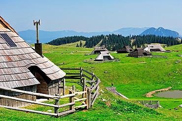 Shepherds huts in the Alps of Kamniöke-Savinja. Velika Planina, Slovenia