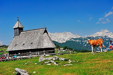 Romanesque chapel in the Alps of Kamniöke-Savinja. Velika Planina, Slovenia