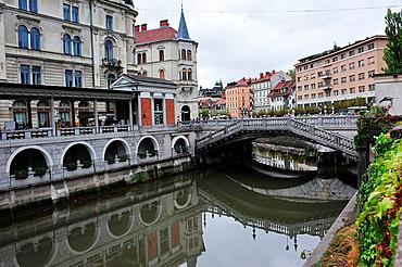 Joze Plecnik Bridge over the river Ljubljanica. Ljubljana, Slovenia