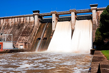 Expulsion of water after heavy rains in the embalse de Puente Nuevo, near Cordoba, Andalusia, Spain