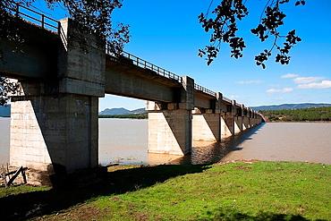 Railway line Cordoba, Almorchon, bridge of Las Navas, municipality of Espiel, reservoir of Puente Nuevo, near Cordoba, Spain
