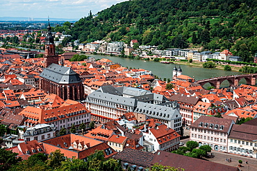 view of old town, Heidelberg, Neckar River, Holy Spirit Church, old bridge, Heidelberg Germany