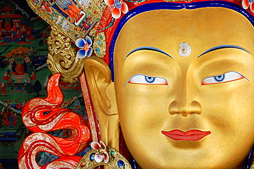 Maitreya Buddha at Thiksey monastery. India, Jammu and Kashmir, Ladakh, Thiksey.