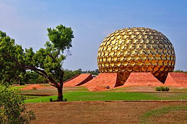 The Matrimandir at the center of Auroville. India, Tamil Nadu, Auroville.
