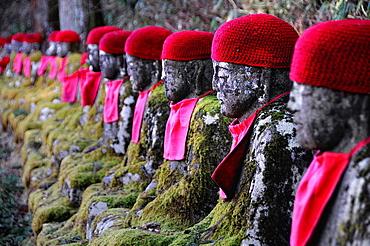 Jizo statues on the trail, Nikko. Japan, Honshu, Kanto, Tochigi, Nikko, Kanman-ga-Fuchi.