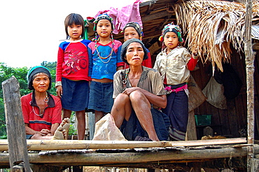 Akha family in a village of Nam Ha NPA. Laos, Luang Namtha, Nam Ha NPA.