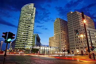 Potsdamer platz modern buildings and traffic at night, Berlin