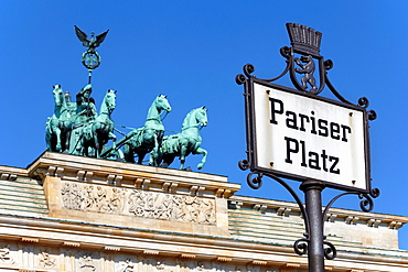 Pariser Platz sign, Brandenburg gate, Berlin