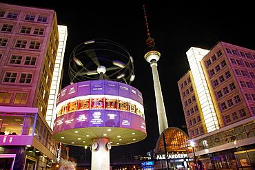 Alexanderplatz, Tv tower and world clock night view, Berlin, Germany.