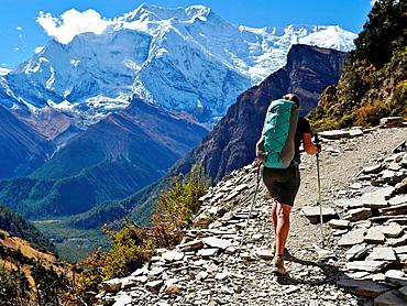 Female trekker in Manang District, Nepal