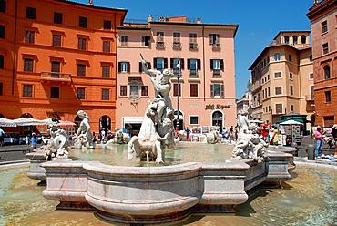 Fountain of Neptune, Piazza Navona, Rome, Lazio, Italy.