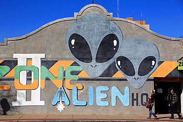 Alien image on the wall of local bar. Roswell. New Mexico. USA