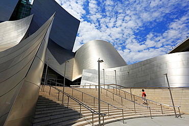 The main entrance and staircases of Walt Disney Concert Hall. Los Angeles. California. USA.