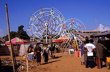 Ferris wheels at the fair in Heho