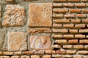 Detail of a traditional wall of briks in Almagro, small village declarated Historical-Artistic Site. Route of Don Quijote. Ciudad Real province. Castilla-La Mancha. Spain.
