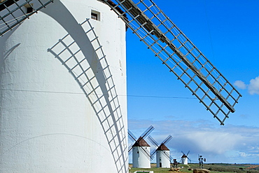 Typical windmill in Mota del Cuervo, in the Route of Don Qiuijote, Cuenca province, Castilla-La Mancha, Spain.