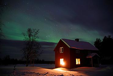 Northern lights Aurora borealis Gallivare Lappland Sweden.