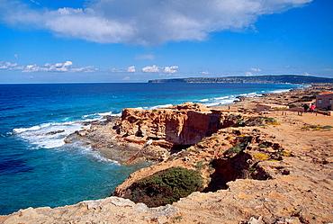 Es Calo coast. Formentera island, Balearic Islands, Spain.