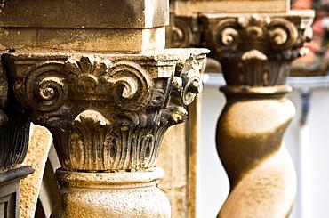 Corinthian capital in the Church of the Assumption, Baroque, Portell de Morella, Els Ports, Castellon Province, Comunidad Valenciana, Spain, Europe.