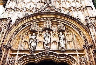 Tympanum on the cover of the old Hospital de San Sebastian, now Congress Hall, Cordoba, Andalucia, Spain, Europe.
