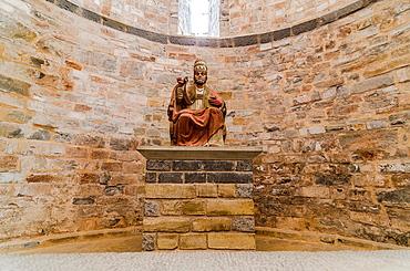 Interior building of San Pedro de Siresa Monastery, Siresa, village, Hecho Valley, Huesca Pyrenees, Aragon, Spain.