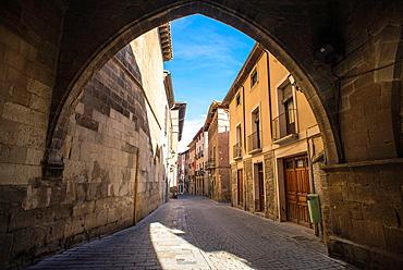 Old city streets of Tudela, Navarre, Spain.
