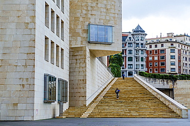 Guggenheim stairs Museum at Bilbao, Basque Country, Spain.
