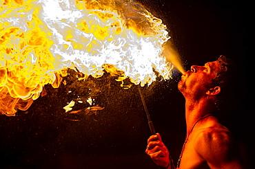 Europe, France, Fayence, Var. Medieval festival, fire-eater.