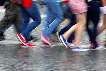 Tourists Walking In Rain In Rome, Italy.