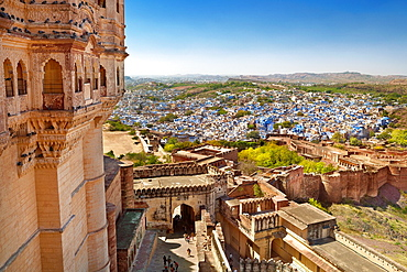 Aerial view from Meherangarh Fort to Jodhpur, the Blue City of Rajasthan, India.