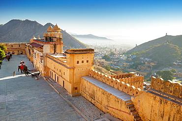 External walls of Amber Fort Amber Palace in Jaipur, Rajasthan, India.